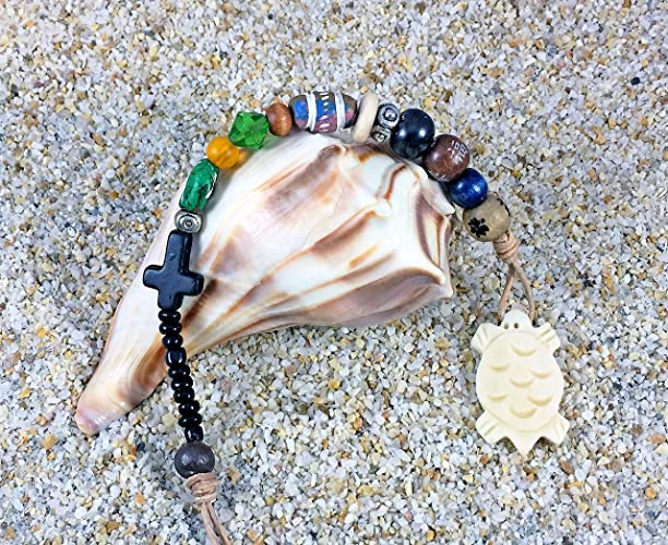 Deluxe Adult Costumes - Handmade buffalo bone turtle  pendant pirate hair beads