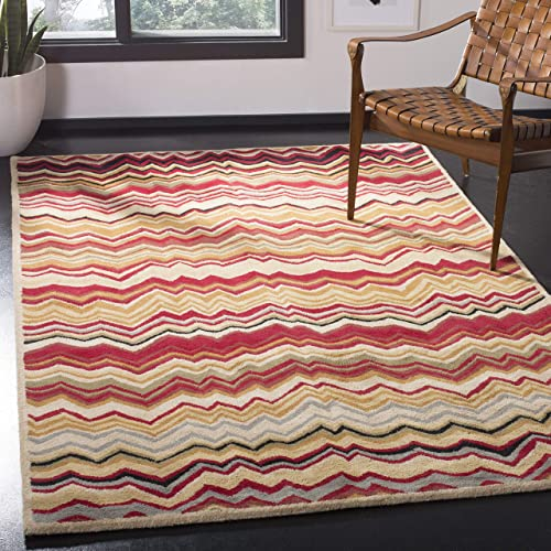 Safavieh Wyndham Collection WYD317B Handmade Red and Multi Wool Area Rug