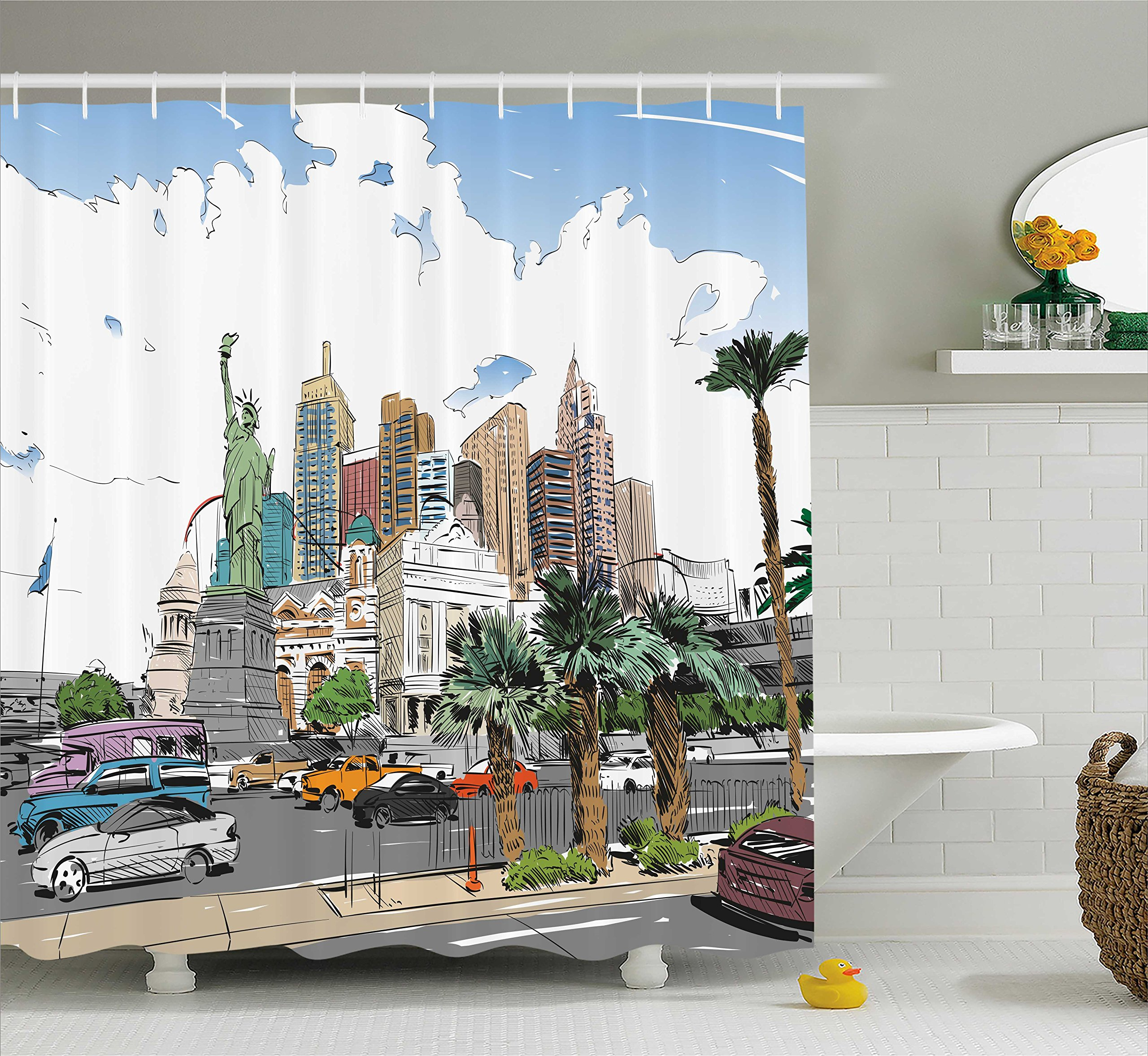 Ambesonne USA Shower Curtain, Hand Drawn Las Vegas City Nevada Street Sketch Buildings Statue of Liberty Cars Palms, Fabric Bathroom Decor Set with Hooks, 75 Inches Long, Multicolor