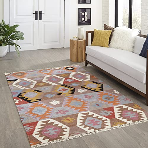 Momeni Rugs Caravan Collection, 100 Wool Hand Woven Transitional Area Rug, 2 3 x 8 Runner, Multicolor