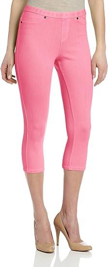 Hue Leggings Sz S Neon Pink Chinos Capri Legging Cotton Blend Casual U13838