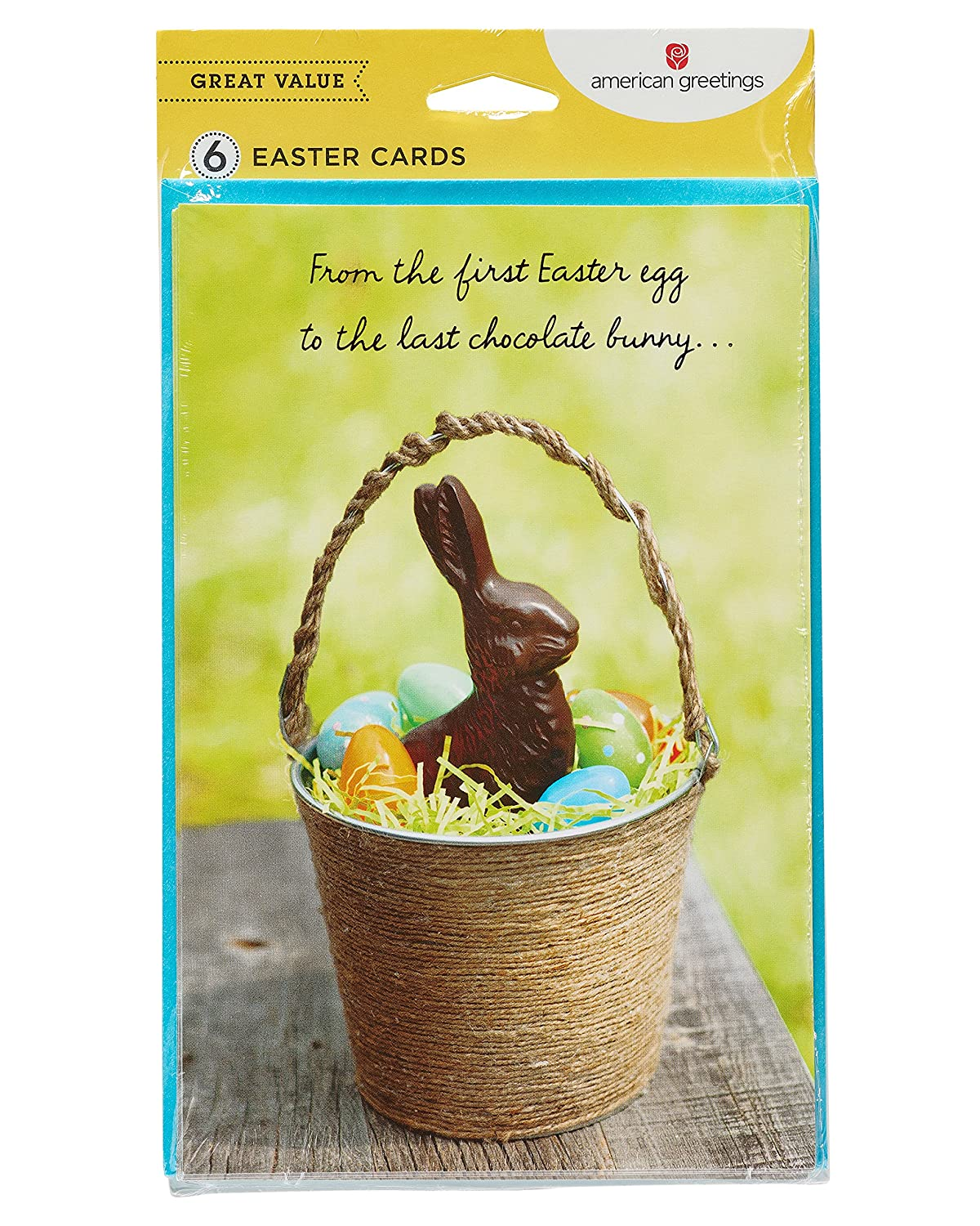 Amazon American Greetings Chocolate Bunny Easter Card 6 Count