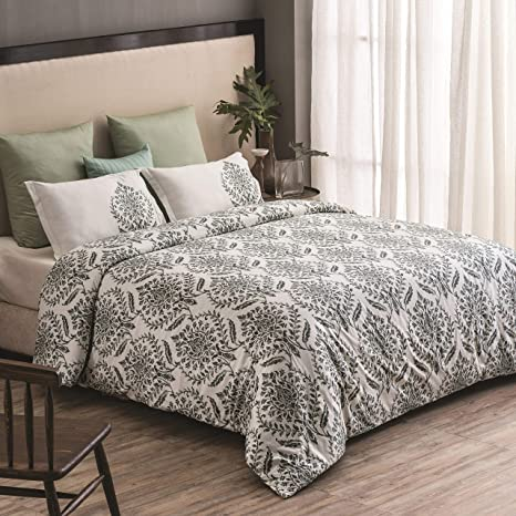 Amazon Com A1 Home Collections Reversible Duvet Cover Trellis Damask Organic Cotton Wrinkle Free 3 Piece Duvet Bedding Set With Pillow Shams And Button Closure Green 88 X 92 Queen Home Kitchen