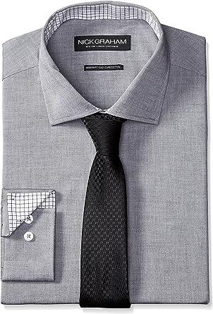 Nick Graham Camisa de Vestir de Popelina de algodón para Hombre con Corbata de Pata de Gallo