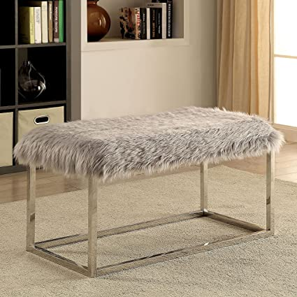 Amazoncom Furniture Of America Shika Contemporary Chrome Fur Like