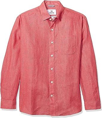 Marca Amazon - 28 Palms – Camisa de lino 100 % de manga larga de corte holgado para hombre