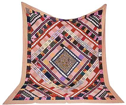 Amazon multicolore queen size kantha quilt handmade applique
