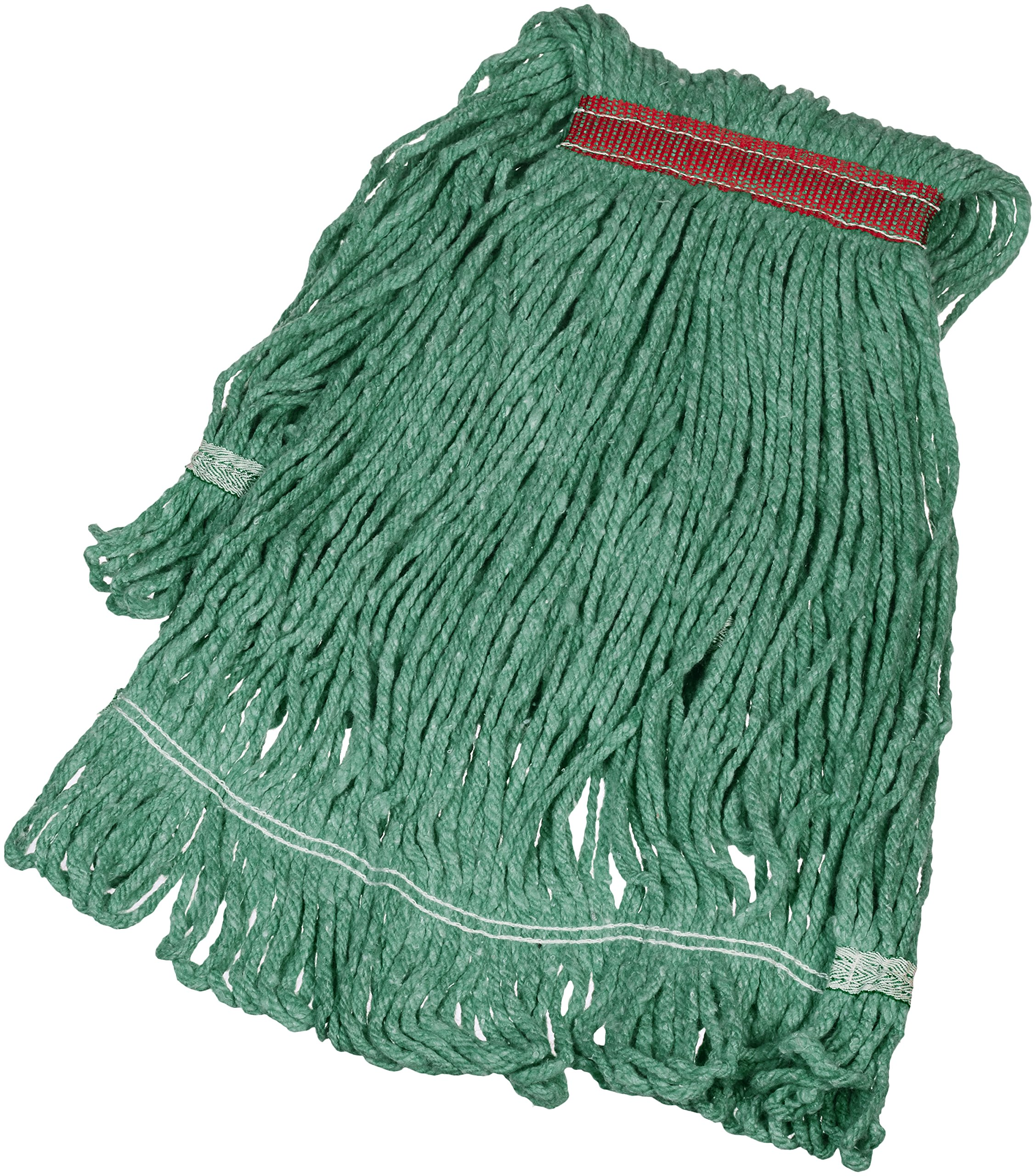 AmazonBasics Loop-End Synthetic Mop Head, 1.25-Inch Headband, Medium, Green - 6-Pack