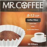 Mr. Coffee Basket Coffee Filters, 8-12 Cup, White Paper, 8-inch, 50-Count Boxes (Pack of 12)