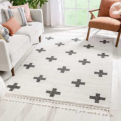 Well Woven Maelynn Ivory | Stripes Crosses High-Lo Textured | Geometric Pattern Area Rug 8×10 7'10″ x 9'10″