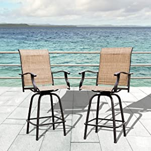 LOKATSE HOME Bar Height Swivel Outdoor Chairs High Back Patio Stools with Arms Set of 2 for Lawn Backyard Garden Brown, Tesling