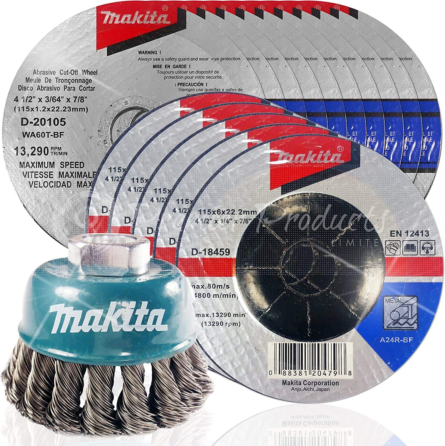 Makita 15 Piece Aggressive Grind /& Cut for Metal 4-1//2 x 7//8-Inch 4.5 Grinding /& Cut Off Wheel Set for Grinders