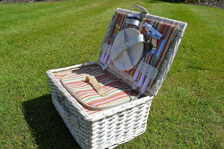 Weiß Antik-Picknick-Korb Antik-Picknick-Korb Antik-Picknick-Korb für 2 Personen, für Camping, Festivals, Sommer, isoliert B00ZRWALWI Krbe & Koffer Moderner Modus 1e359d