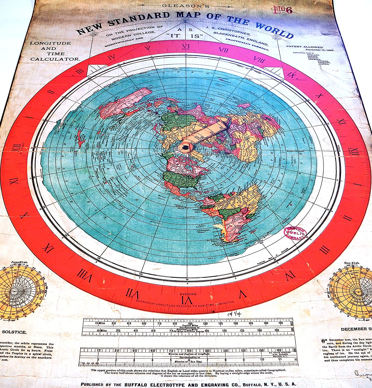 Flat Earth Poster Prints Gleasons New Standard Map Of The World