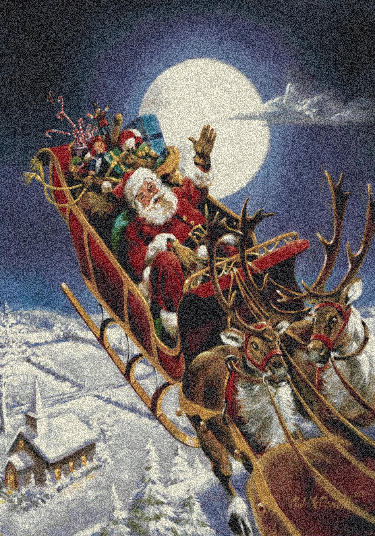 Milliken Holiday Collection Santa's Big Night, 5'4'' X7'8'' Rectangle, Midnight