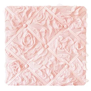 Sweet Jojo Designs Pink Floral Rose Fabric Memory Memo Photo Bulletin Board - Solid Light Blush Flower Luxurious Elegant Princess Vintage Boho Shabby Chic Luxury Glam High End Roses