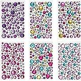 Peachy Keen Crafts - gioielli adesivi - Confezione da 6 strati di strass - ornamenti multicolori - Arti e mestieri per bambini