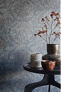 Vlies Tapete Textil Optik Ornamentale Kreise Grau Blau Metallic Bazar 219410