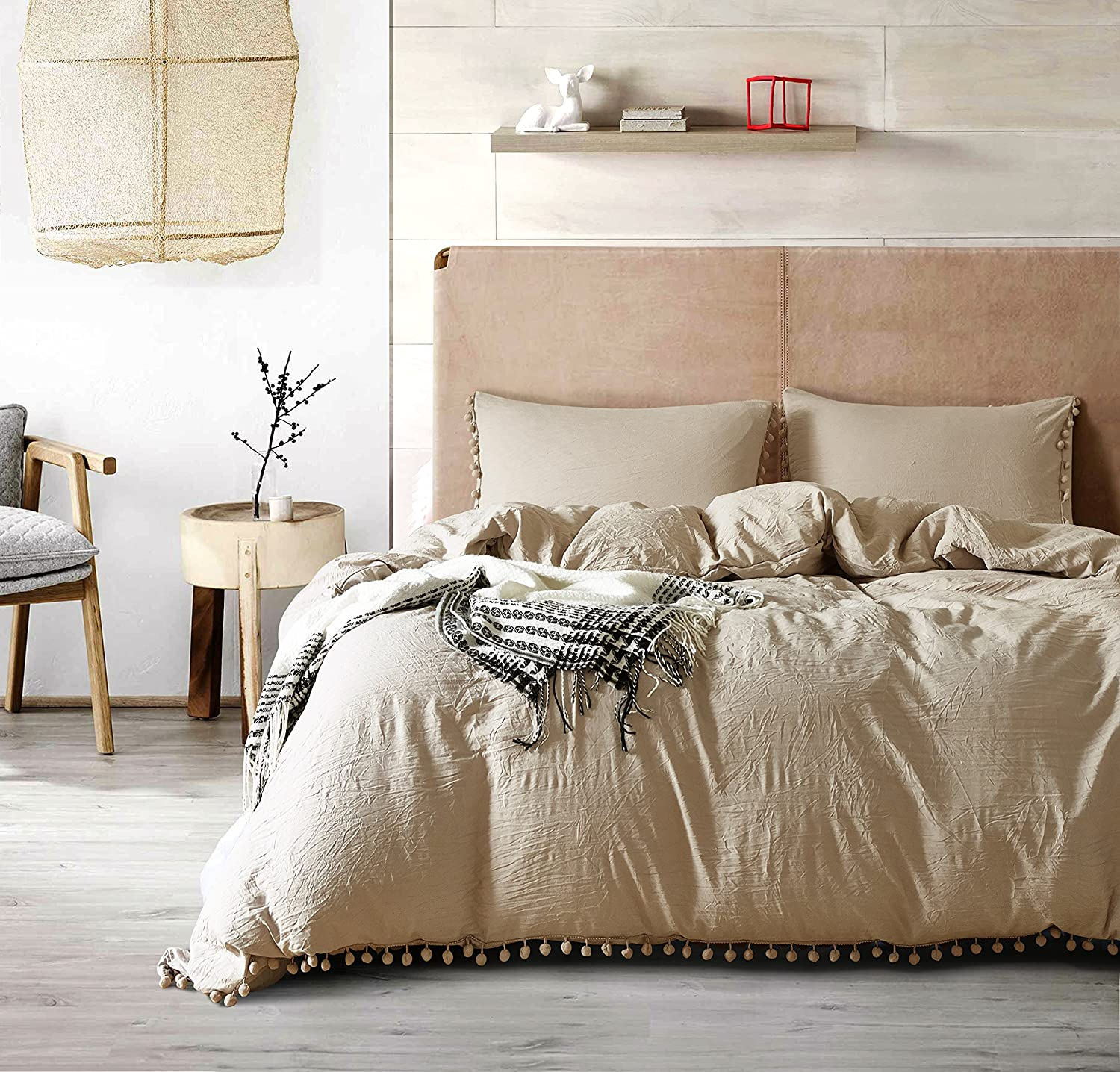 AiMay Pom Poms 3 Piece Duvet Cover Set (1 Duvet Cover + 2 Pillowcases) Stone-Washed Brushed Luxury 100% Super Soft Microfiber Bedding Collection (Khaki/Camel, Queen)