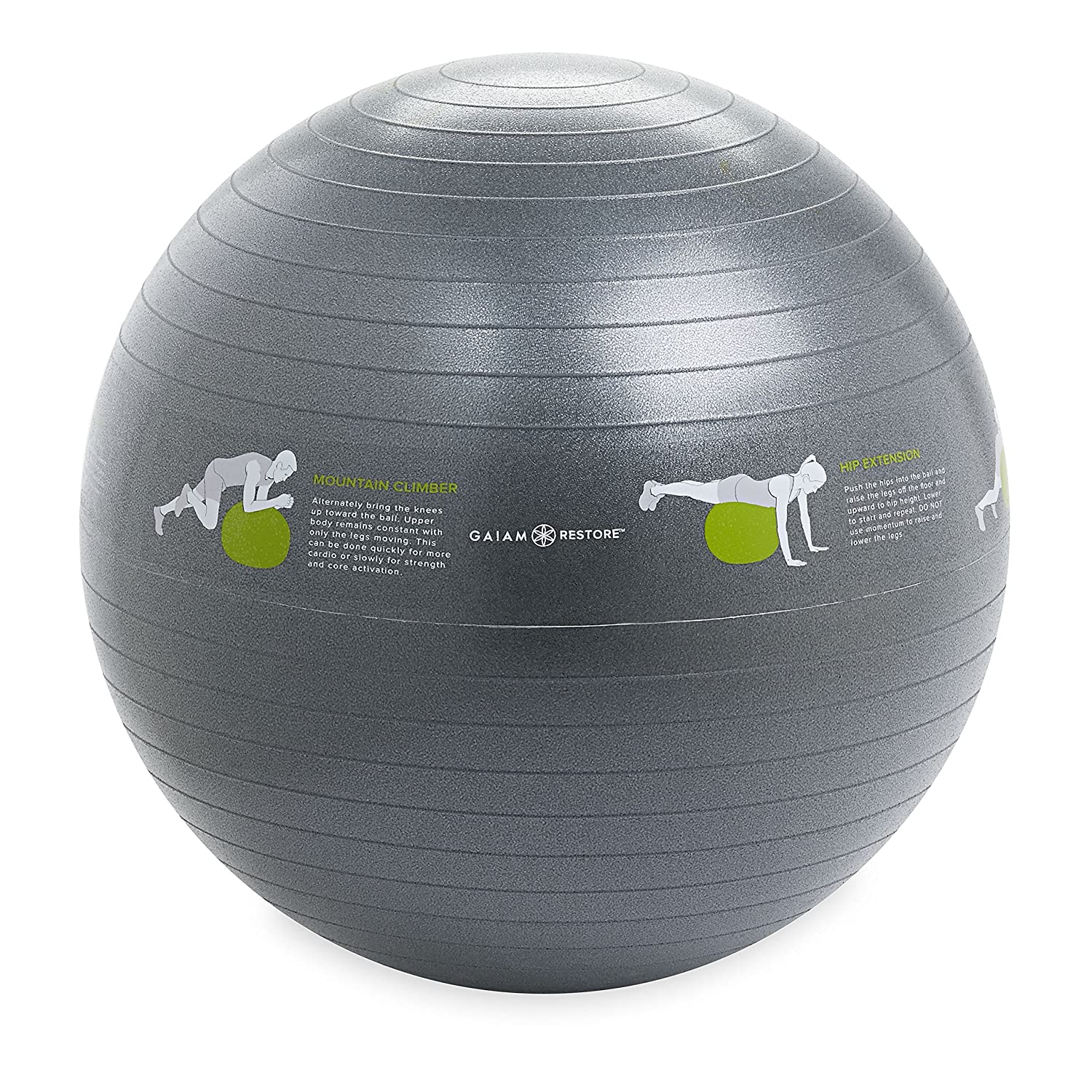 Gaiam Restore Balance Ball Self-Guided Stability Ball with Exercise Guide Instructions Printed on Yoga Ball, 65cm