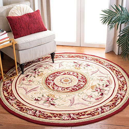 Safavieh Chelsea Collection HK72A Hand-Hooked Ivory and Burgundy Premium Wool Round Area Rug 8' Diameter