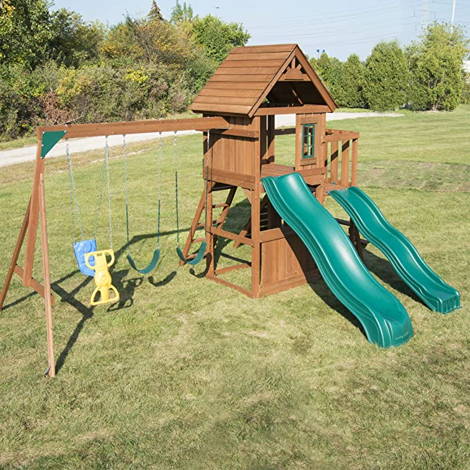 Swing N Slide Ws 8353 Knightsbridge Deluxe Wooden Swing Set With Two Slides Climbing Wall Swings Glider Picnic Table Wood Toys Games Amazon Com