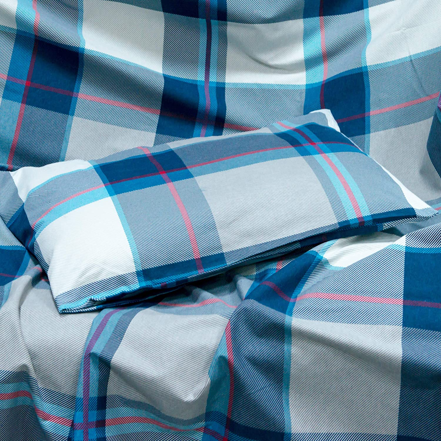 BHT Cozy Flannel 100/% Cotton Ultra Soft Cold Weather Bedding Sheet Set Grey Plaid, Twin