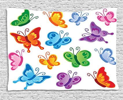 Amazon Com Ambesonne Butterflies Decoration By Of Colorful