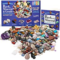 Dancing Bear Rock & Mineral Collection Activity Kit (200+Pcs) with Geodes, Shark Teeth Fossils, Arrowheads, Crystals…