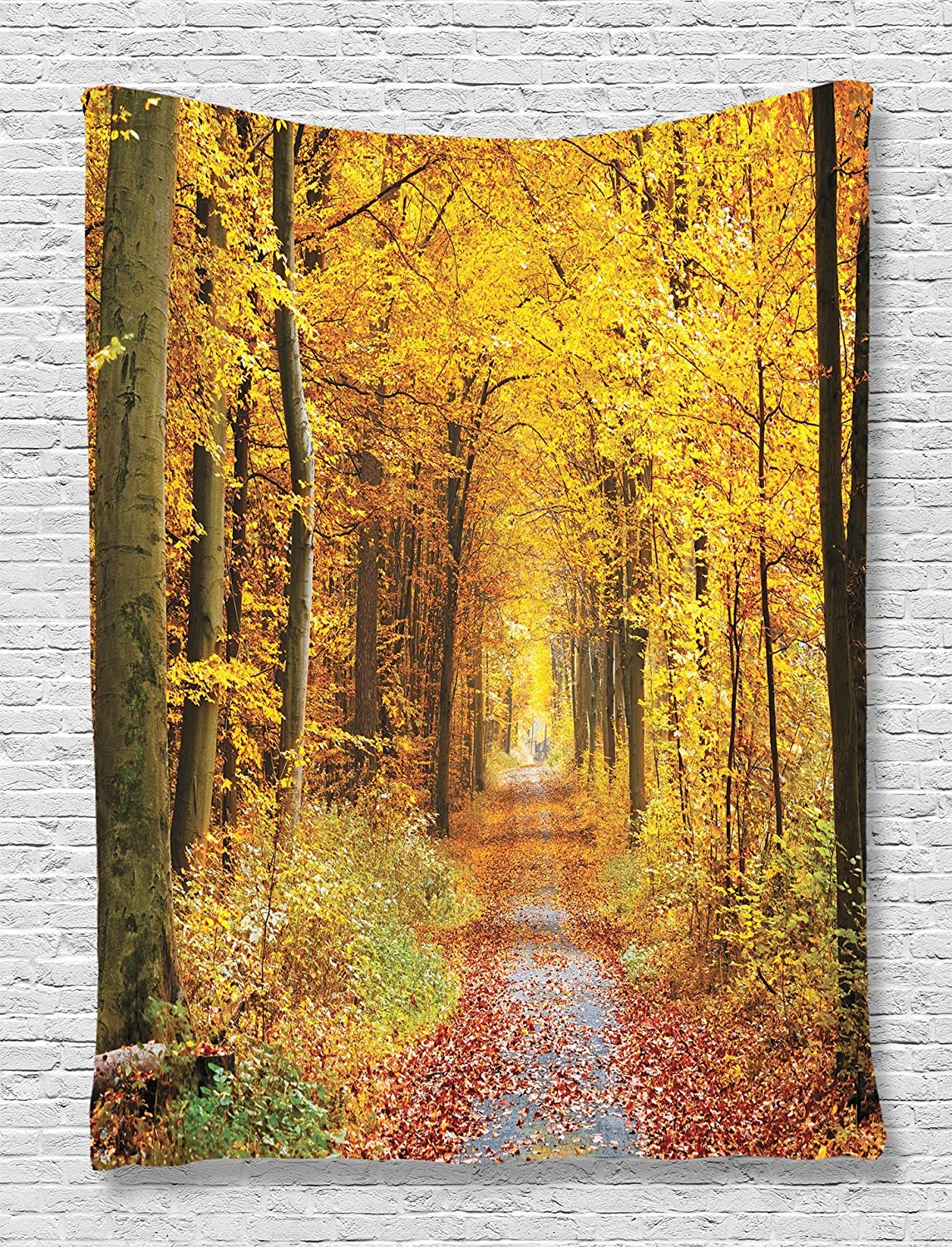 Amazon.com: Fall Trees Tapestry Decor by Ambesonne, Foliage Leaves ...