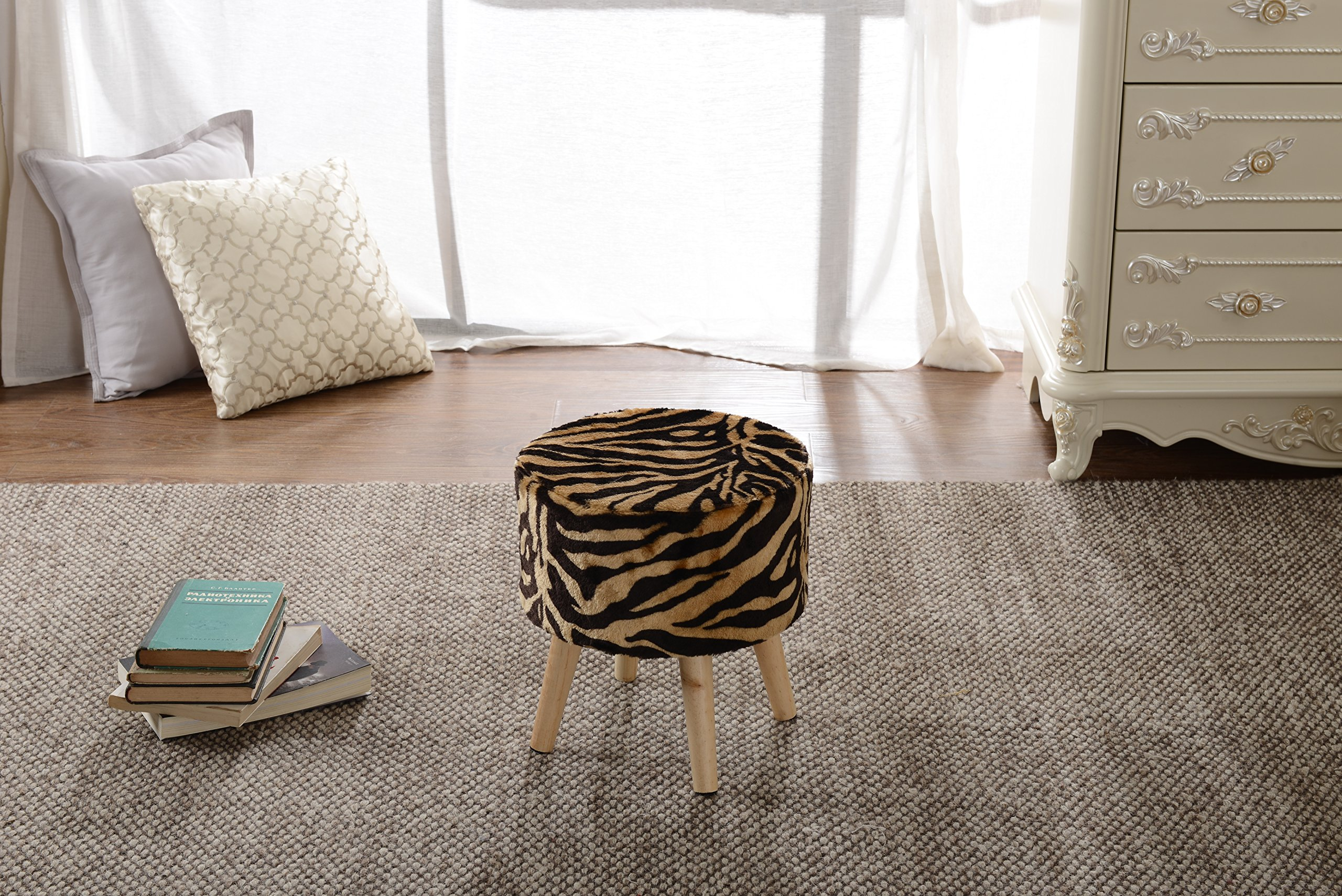 Cheer Collection 13'' Round Ottoman | Super Soft Decorative Tiger Print Faux Fur Foot Stool with Wood Legs by Cheer Collection (Image #5)