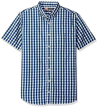 b15869f2 Nick Graham Men's Captain America Gingham Shield Short Sleeve Sport Shirt, Captain  America Gingham (