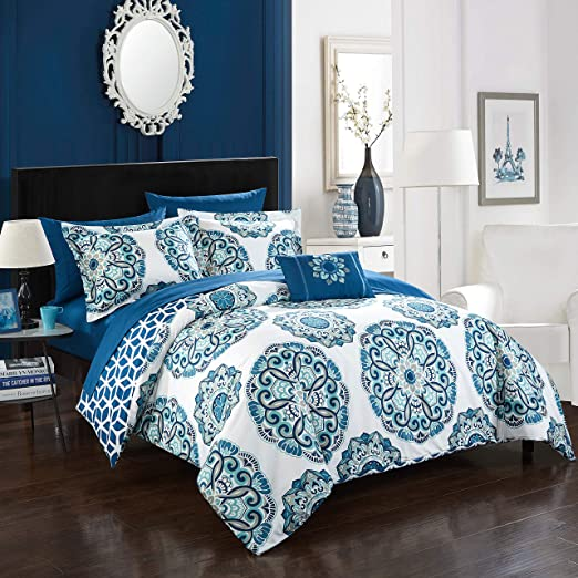 Luxury 6pc Blue /& White Paisley Quilted Comforter Set AND Decorative Pillows