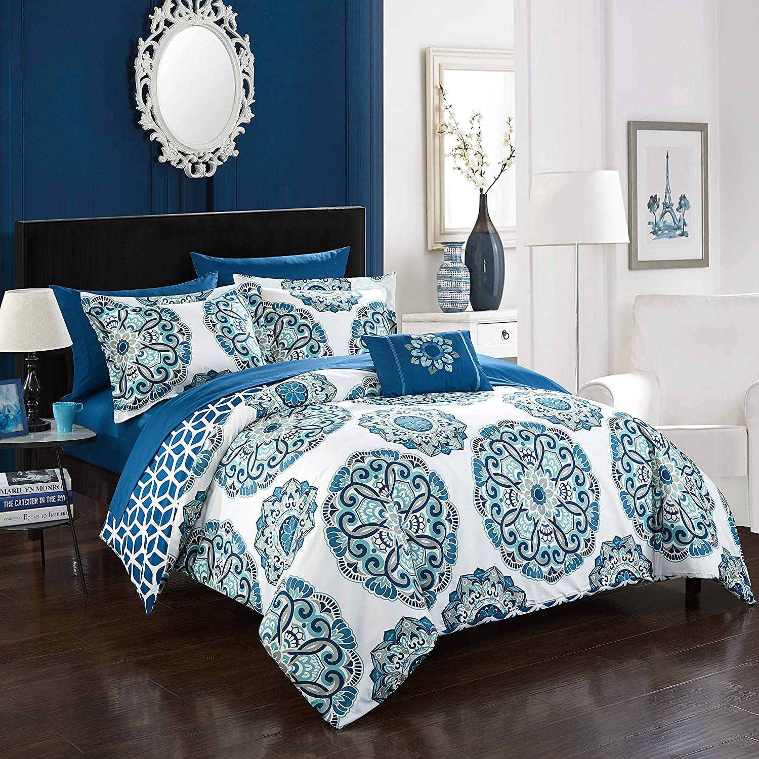 Chic Home Barcelona 8 Piece Reversible Comforter Set, Full/Queen, Blue,