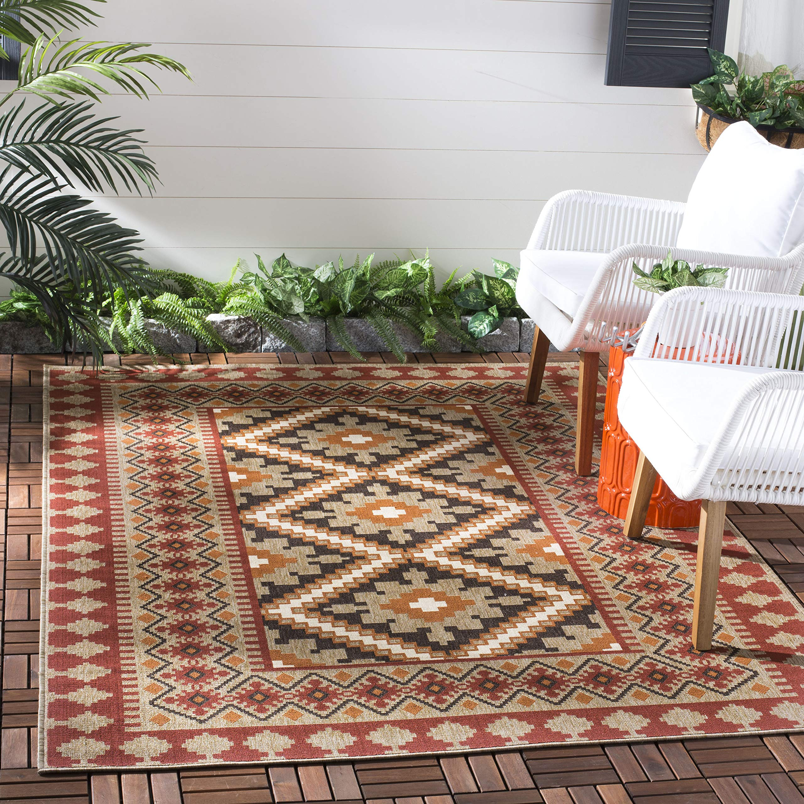 Safavieh Veranda Collection VER099-0334 Indoor/ Outdoor Red and Natural Southwestern Area Rug (8' x 11'2'') by Safavieh