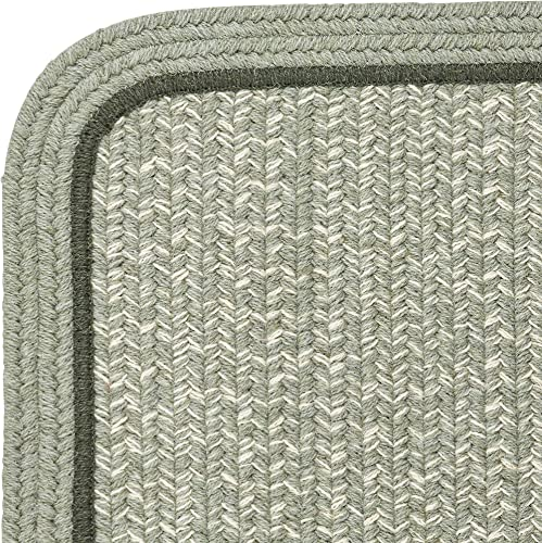 Super Area Rugs Woolmade Braided Rug 100 Wool Rug Soft Plush Bordered Green Heathered Carpet, 2 X 3