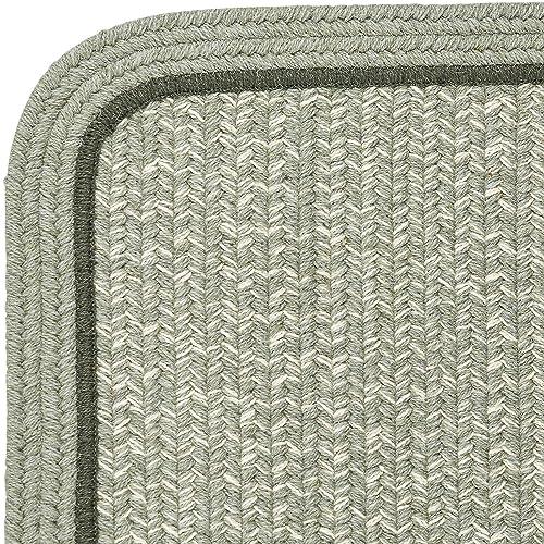 Super Area Rugs Woolmade Braided Rug 100 Wool Rug Soft Plush Bordered Green Heathered Carpet, 5 X 8