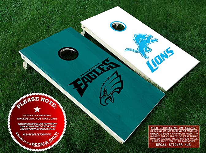 Amazon.com: Eagles and Lions Rival Team Cornhole Decals - 6PC Set ...