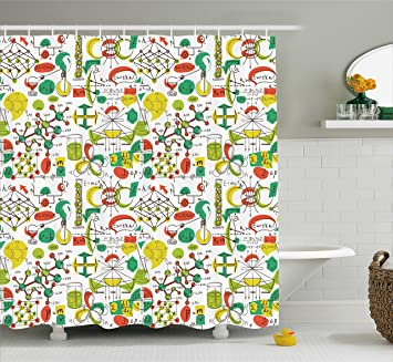 colorful shower curtain by ambesonne science lab objects doodle like vintage style sketches back to - Colorful Shower Curtains