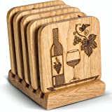 Drink Coasters with Holder - Set of 5 Wood Coasters - Prevent Furniture Damage, Fit any Size of Glassware