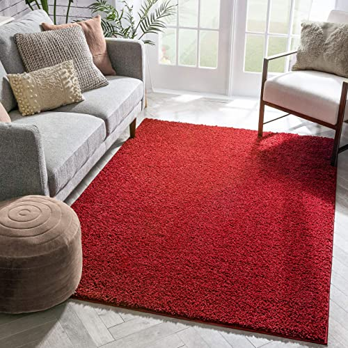 Well Woven Madison Shag Plain Red Modern Solid Area Rug 6'7'' X 9'10'' Review
