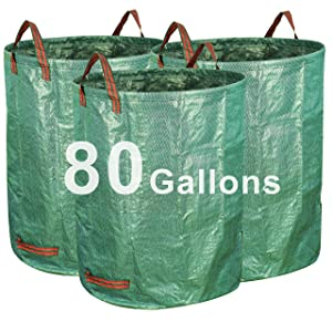 Gardzen 3-Pack 80 Gallon Garden Bag - Reuseable Heavy Duty Gardening Bags, Lawn Pool Garden Leaf Waste Bag