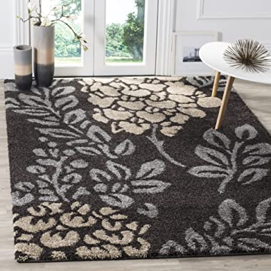 Safavieh Florida Shag Collection SG456-2880 Dark Brown and Grey Area Rug (5'3  x 7'6 )