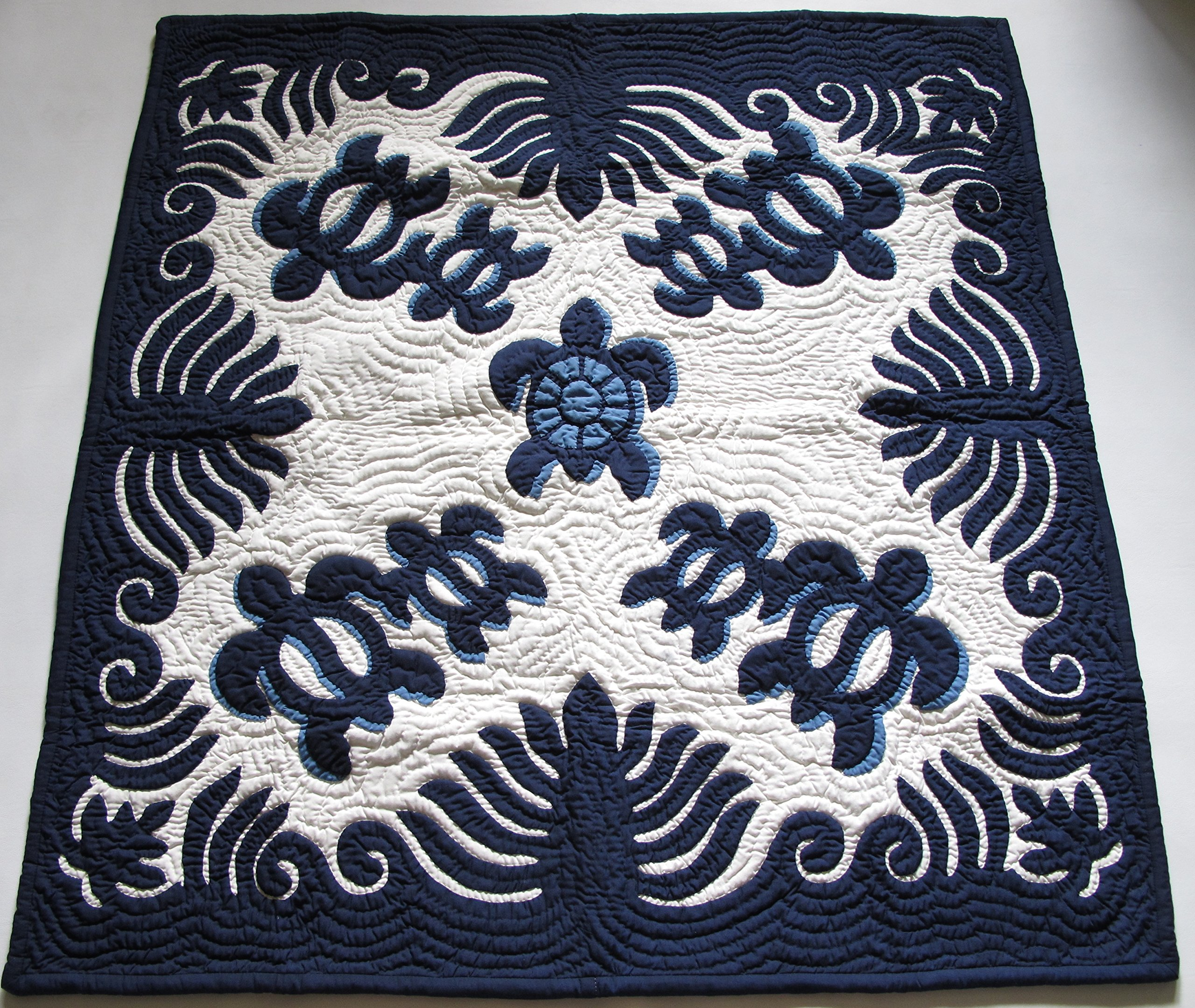 Hawaiian Quilt, Wall Hanging, Baby Crib Blanket, 100% Hand Quilted and 100% Hand Appliqued 42''