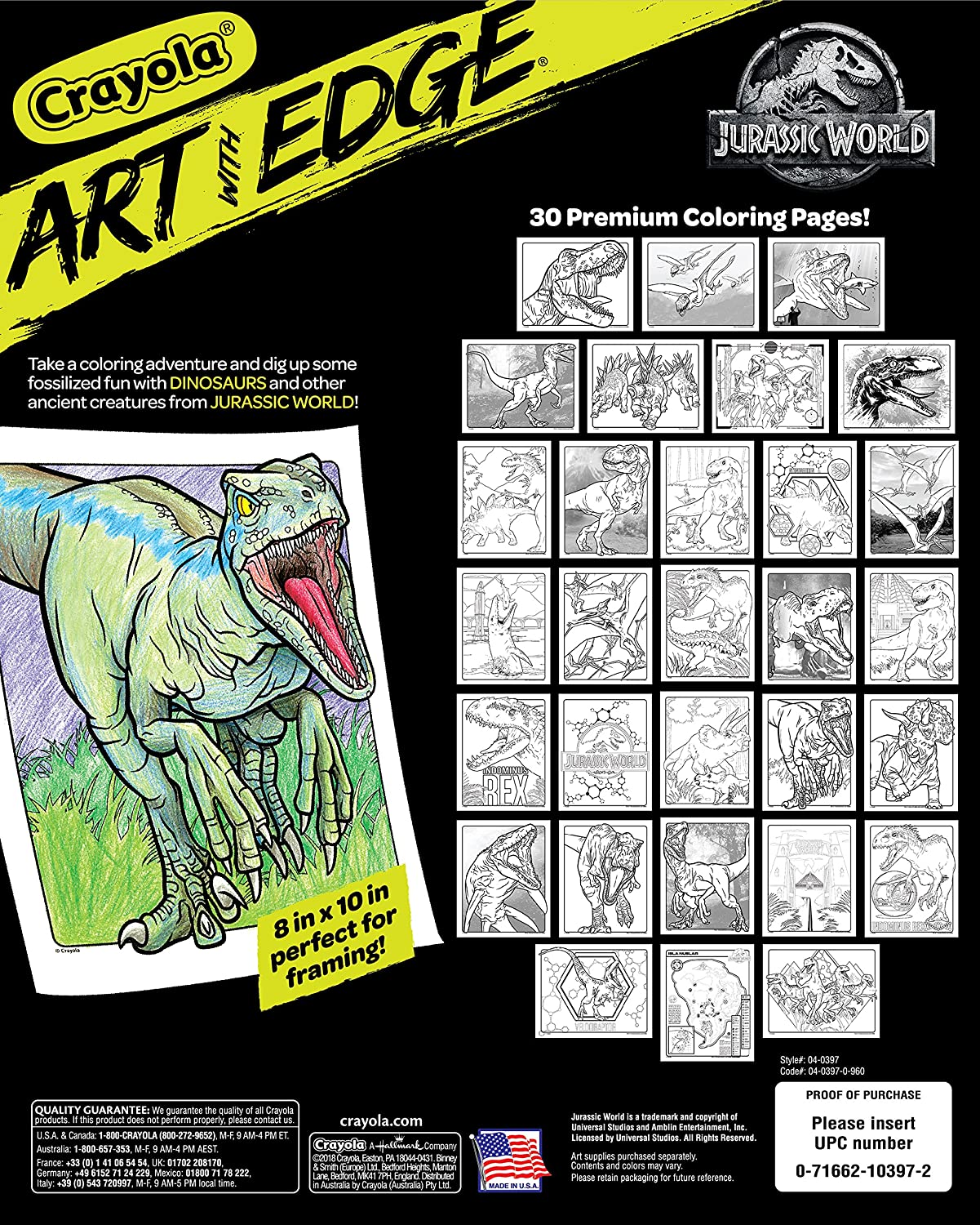 Amazon Crayola Art With Edge Jurassic World Coloring Book Gift For Teens 30 Pages Toys Games
