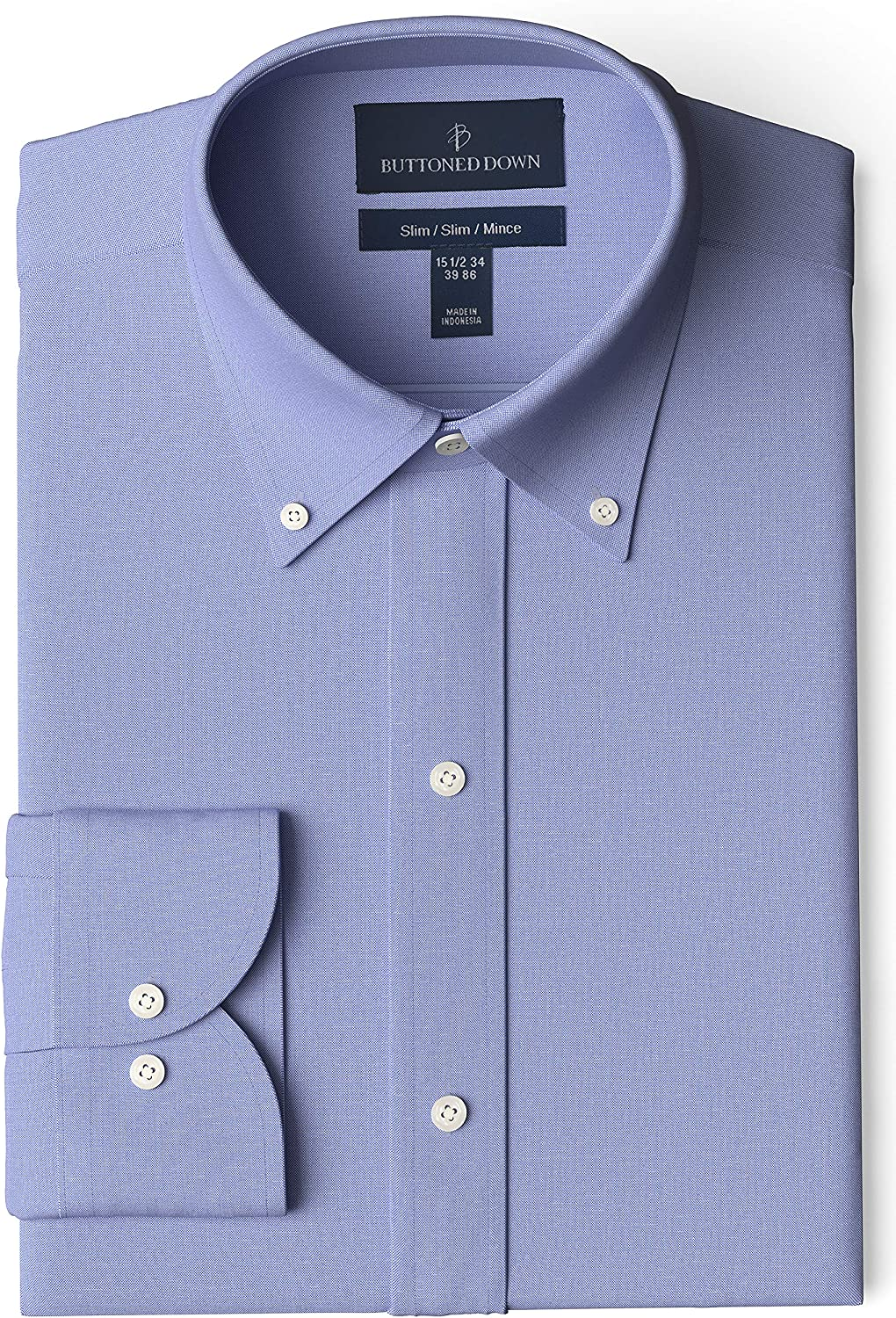 Crafted Collar Mens Classic Fit Button-Down Collar Casual Shirt 18 Neck 34 Sleeve Blue Stripe