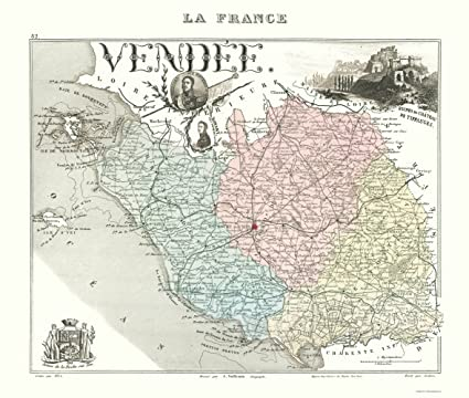 Map Of France Vendee.Amazon Com Old France Map Vendee Department Migeon 1869 23 X