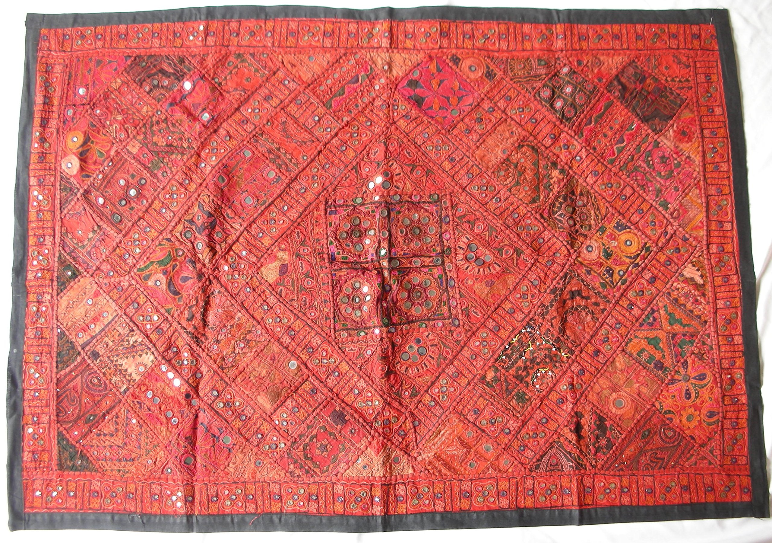 Handmade Sari Kutch Tapestry Quilt with Vintage Sari Fabric, Beads, and Sequins