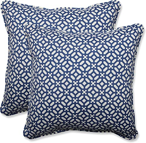 Pillow Perfect Outdoor Indoor Throw Pillows, 18.5 x 18.5 , in The Frame Pebble Sapphire, 2 Pack