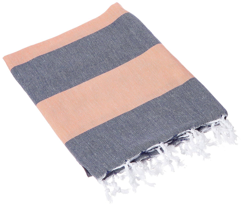 Bersuse 100% Cotton Oeko-Tex Certified Cayman Turkish Towel, 37X70 Inches, Dark Blue/Orange